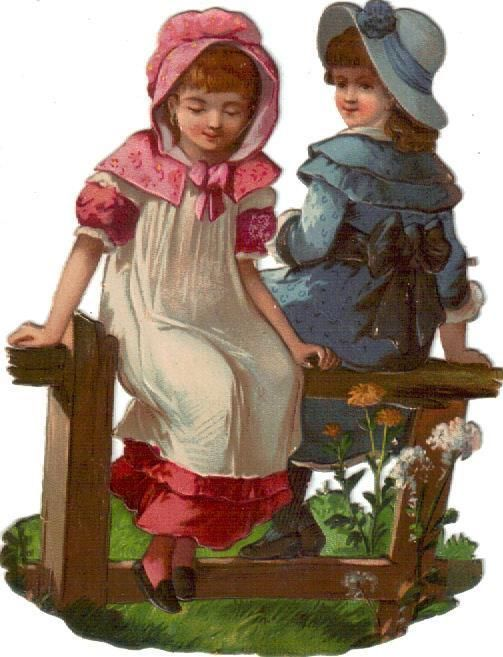 Larger Victorian Die Cut Scrap Girls on a Fence c1880:
