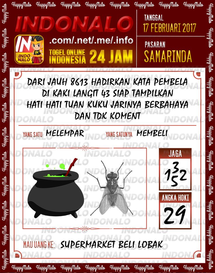 Angka Taysen 6D Togel Wap Online Live Draw 4D Indonalo Samarinda 17 Februari 2017