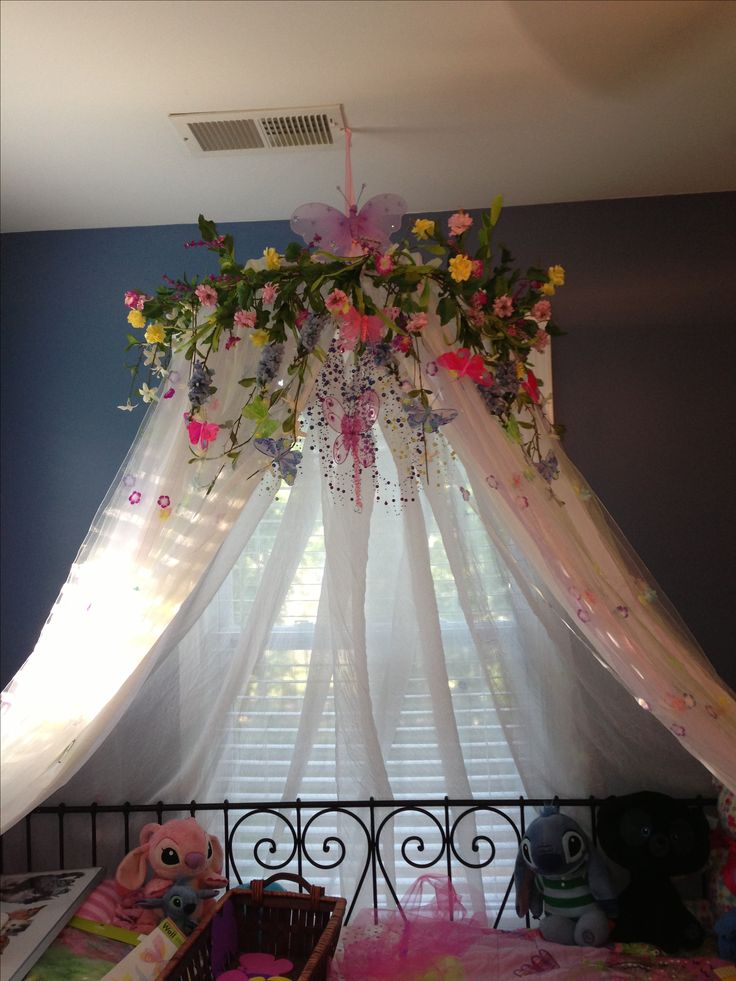 My DIY version of a canopy for my 7 year old daughters bedroom.  Made from a hula hoop, curtains and other adornments.