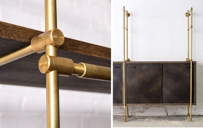 Oak and Brass Shelving System from Amuneal, Remodelista