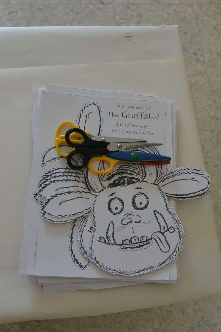 Gruffalo party: some of the craft supplies provided for the kids to enjoy. These were printed directly from gruffalo website http://www.gruffalo.com/