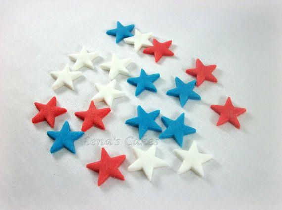 Fondant Stars rojo blanco azul comestible Toppers, 4 de julio partido pastel Cupcake decoración, decoración patriótica del partido Union Jack Cookie - set 96