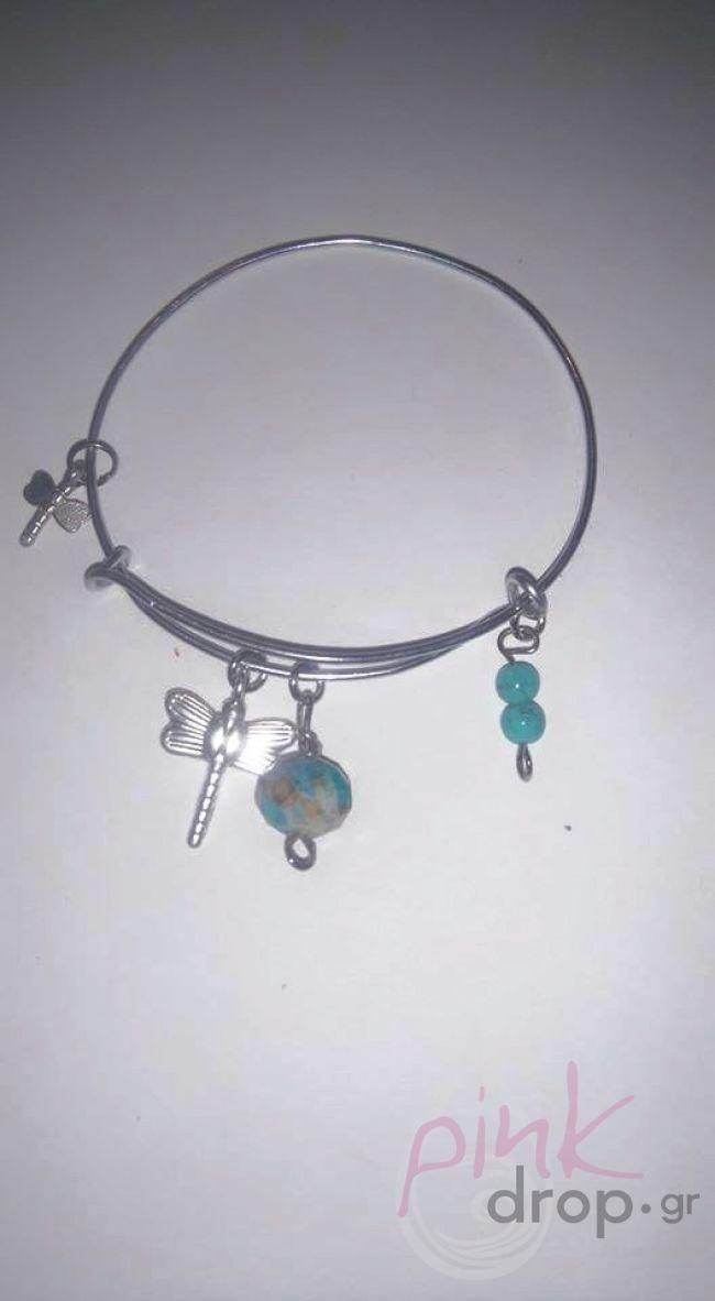 Expandable Charm Bangle Bracelet με μεταλλικά στοιχεία και χάνδρες