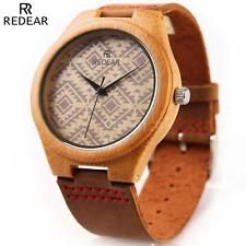 REDEAR Wooden Watches Men Women Bamboo Wood Real Leather Band Quartz Watch N4N2