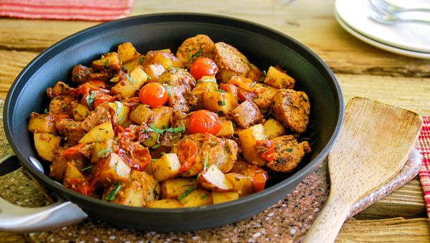 Easy One Skillet Meal: Hearty Italian Sausage and Potatoes - Ready in 30 minutes.