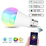 #9: Smart Bulb WiFi Led Hue Light B22 Bulb Colour Lamp Works with Amazon Alexa and Google Home RGBW Colour Changing 60W Equivalent Timing Function Remote Controlled by IOS/Android Devices No Hub Required Mood Led Party Lights or Decorative Bulbs Warm White[Energy Class A] #movers #shakers #amazon #electronics #photo
