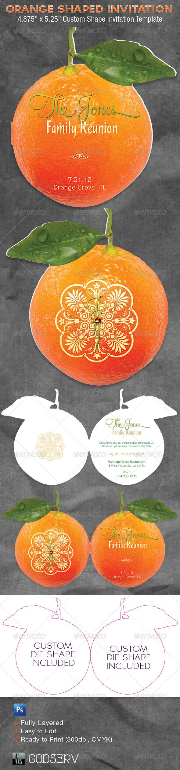 Orange Shaped Invitation Card Template The 105