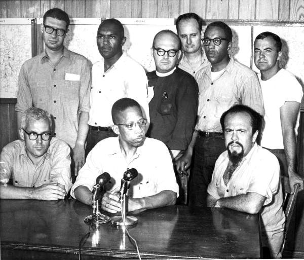 Florida Memory - Jailed ministers tell their side - Tallahassee, Florida. Seated (L-R) are Dr. Robert McAfee Brown from Stanford, California; Reverend John W. Collier of Newark, New Jersey; and Rabbi Martin Freedman from Paterson, New Jersey. Standing (L-R) are: Rabbi Israel Dresner from Springfield, New Jersey; Reverend Petty D. McKinney of Nyack, New York; Reverend Robert J. Stone from New York City; Reverend Arthur Warner of New York City; Reverend Arthur L Hardge from New Britain…
