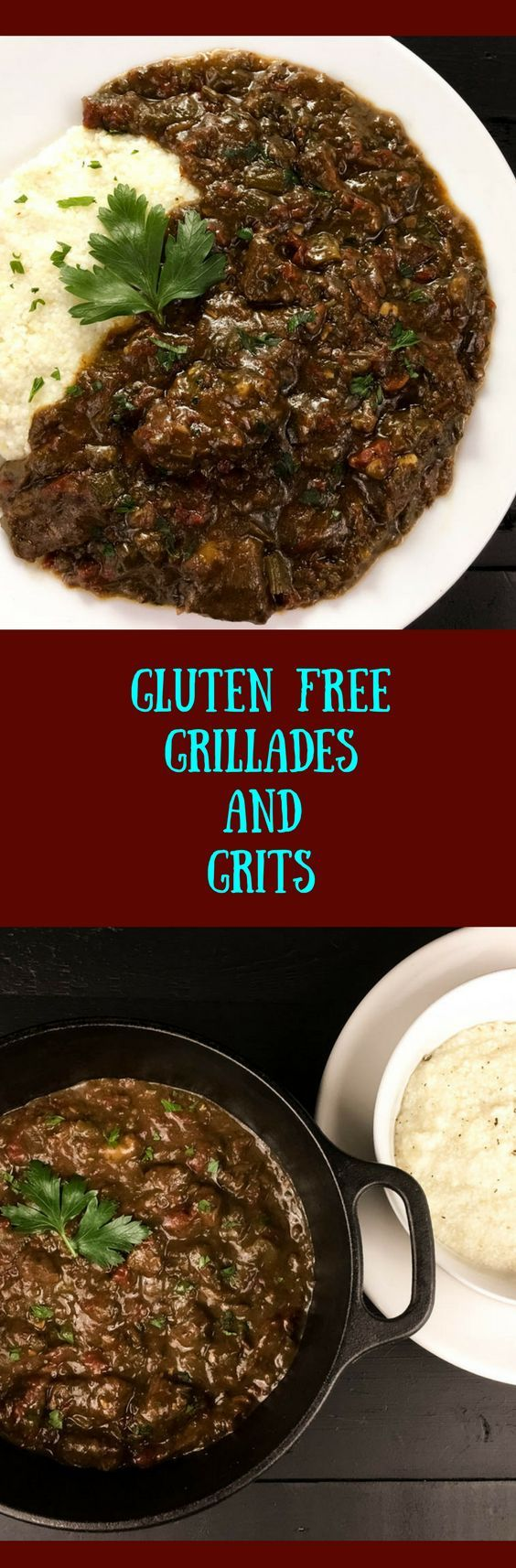 Gluten Free Grillades and Grits. A traditional south Louisiana Creole delicacy flavor authenticated with my Trinity Roux™️. Naturally grain free & Paleo grillades recipe sans grits.   http://asprinklingofcayenne.com