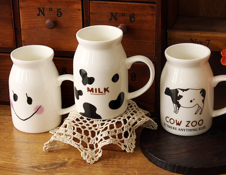 Zakka cow cup milk pot bottle cup ceramic breakfast cup big and small cup(China (Mainland))