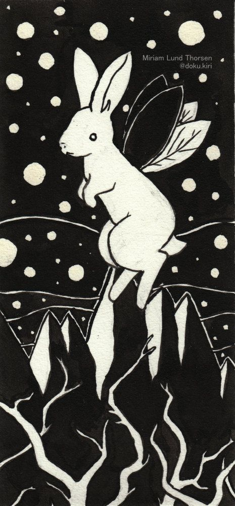 Bunny Bug by MiriamThorsenArt on Etsy Black and white ink work on watercolour paper. Surreal, midnight, stars, sky, space, mountains