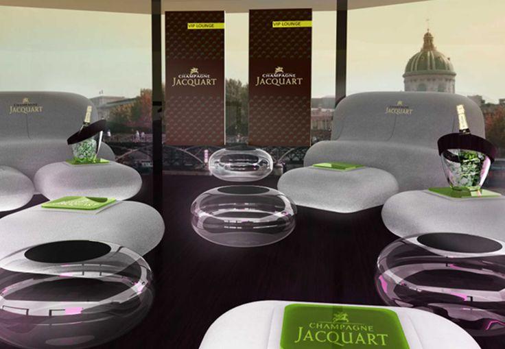 Pravda Stand Design. Espace éphémère. Lounge gonflable. Champagne