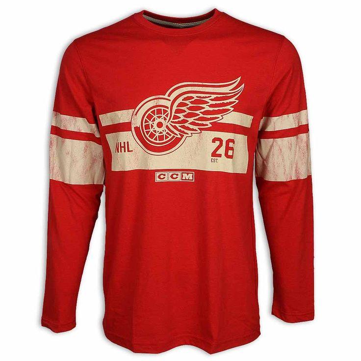 Detroit Red Wings Vintage Long Sleeve T-Shirt by CCM - Detroit Red Wings Men's T-shirts - Detroit Red Wings Men's Shop - Detroit Red Wings - Detroit Athletic