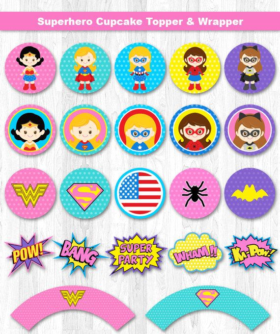 Superhero Girl Cupcake Toppers, Superhero Girl Cupcake Wrappers, Super Girl Cupcake Topper