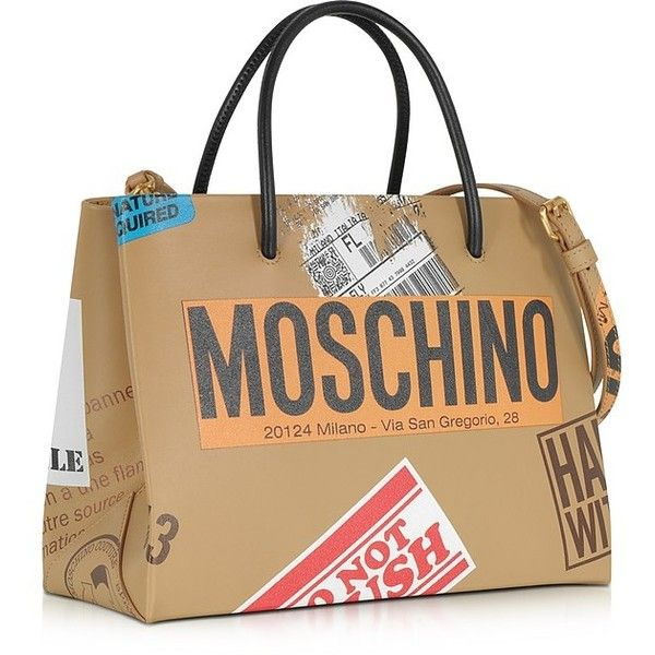 Moschino Handbags Beige Label Print Leather Small Tote Bag (29.346.615 VND) ❤ liked on Polyvore featuring bags, handbags, tote bags, man tote bag, purse tote, genuine leather tote bags, leather hand bags and leather purses