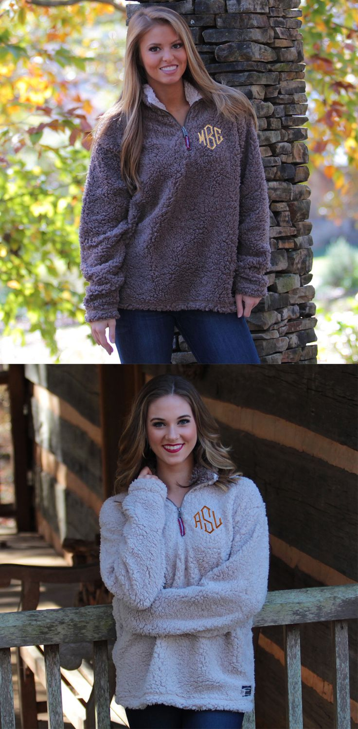 Monogrammed Appalachian Pile Pullover aka the comfiest pullover ever made! Available at Marleylilly.com!