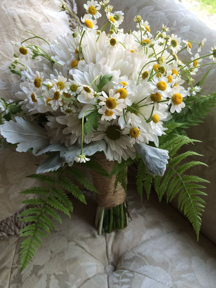 Chamomile, white daisy, rabbit foot fern and dusty miller by In Full Bloom Flowers LLC