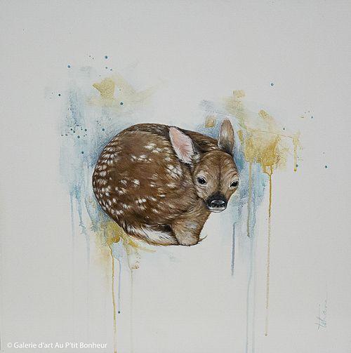 Tammy Shane, 'Little Dear', 24'' x 24'' | Galerie d'art - Au P'tit Bonheur - Art Gallery