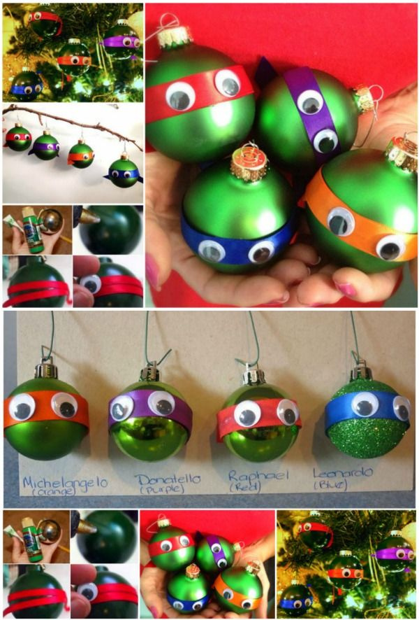 Adorable DIY Ninja Turtle Christmas Ornaments ....I am going to make these with the kids next weekend for their tree. Need to figure a princess kind. If not will have kitty ones too