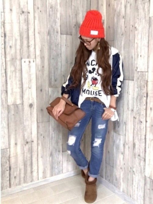 ラフstyle♡ デニムは本来スキニーデニムですが、少し大きめ サイズを買ってボーイズデニム風に着