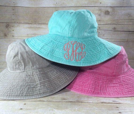 Womens Momogrammed Beach Bucket Hat | Ladies Floppy Cotton Twill Fishing Hat | Adult Personalized Summer Hat