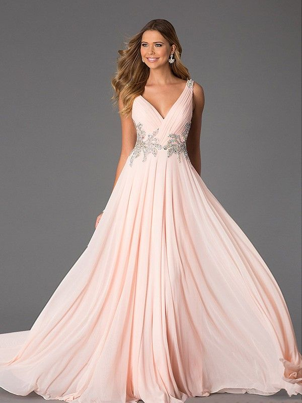 A-Line/Princess V-neck Sleeveless Beading Chiffon Floor-Length Dresses