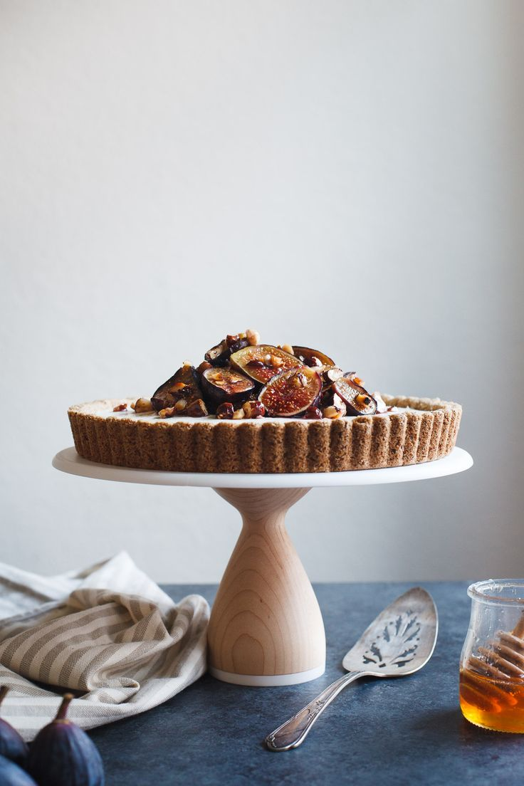 Ginger Goat Cheese Cheesecake with Roasted Figs and Hazelnuts