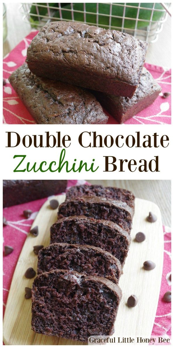 See how to make this delicious Double Chocolate Zucchini Bread with shredded zucchini on gracefullittlehoneybee.com
