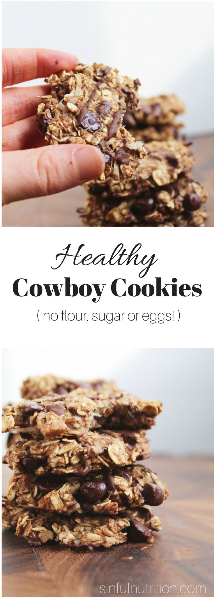 Healthy Cowboy Cookies Recipe (Vegan, Gluten-Free) -- Made with only 9 ingredients, with no added oils, sugars, flours, or eggs! | @sinfulnutrition | www.sinfulnutrition.com