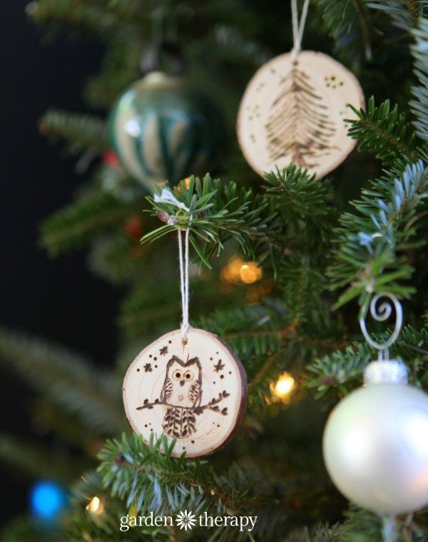 Owl Christmas Tree Wood Slice Ornaments from the book Garden Made