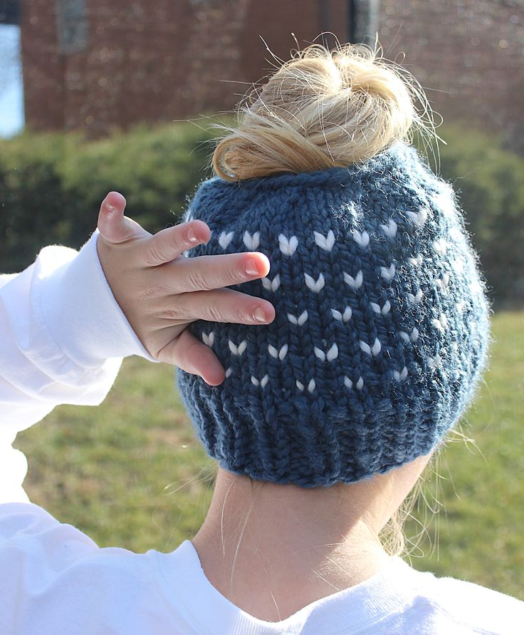Blue Bun Hat with tiny white hearts!