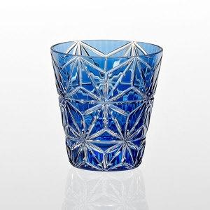江戸切子「絣」冷酒グラス(麻の葉紋)青T680-mo54-CCB