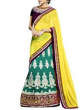 yellow- green colored Georgette embroidered saree - Online Shopping for Sarees