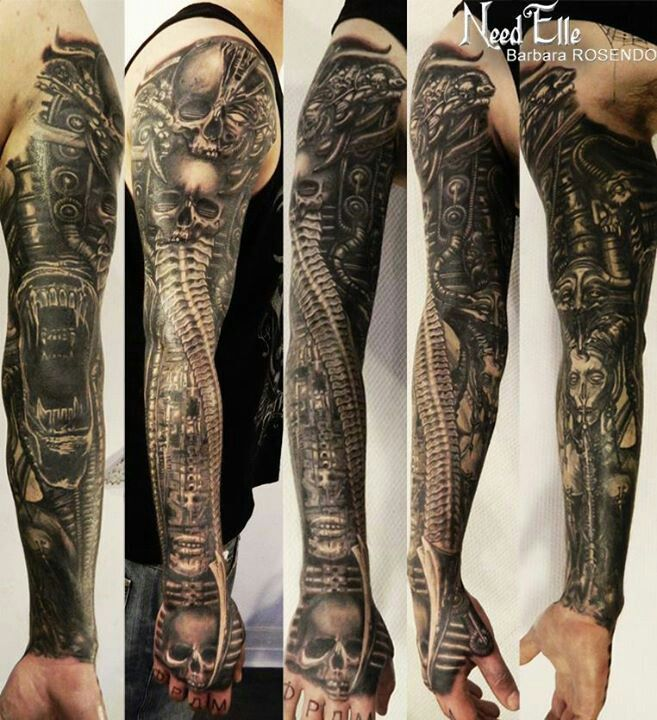 HR Giger sleeve tattoo