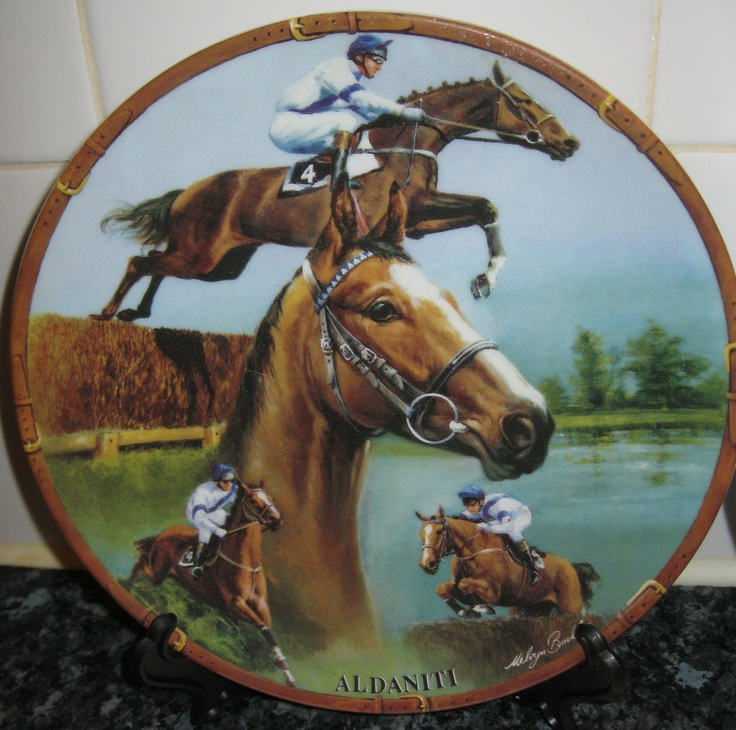 Aldaniti Plate - Aintree Grand National winner 1981. Aldaniti and his jockey Bob Champion both overcame impossible odds to win in 1981 after nearly falling at the 1st fence of the Grand National. Aldaniti became a hero in Great Britain and in his retirement participated in many fundraising efforts for Bob Champions Cancer Trust.