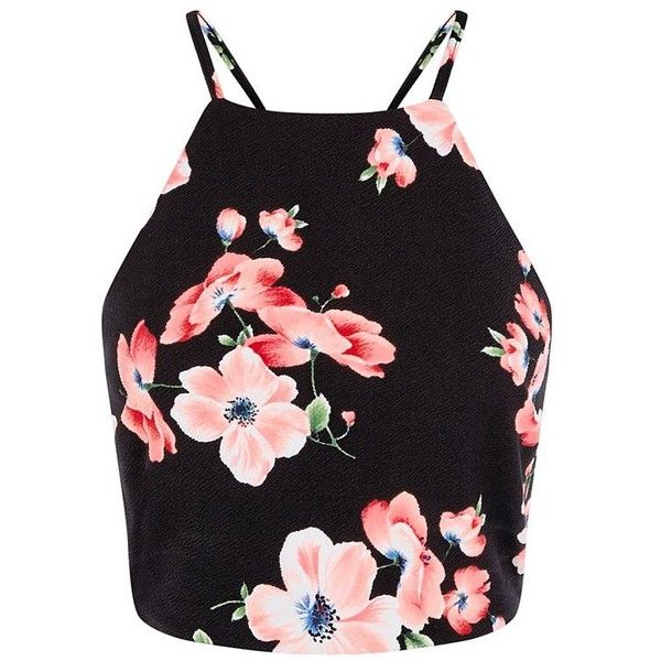 Black Floral Print High Neck Crop Top ($20) ❤ liked on Polyvore featuring tops, shirts, crop tops, floral shirt, black top, black shirt, evening tops and crop shirts