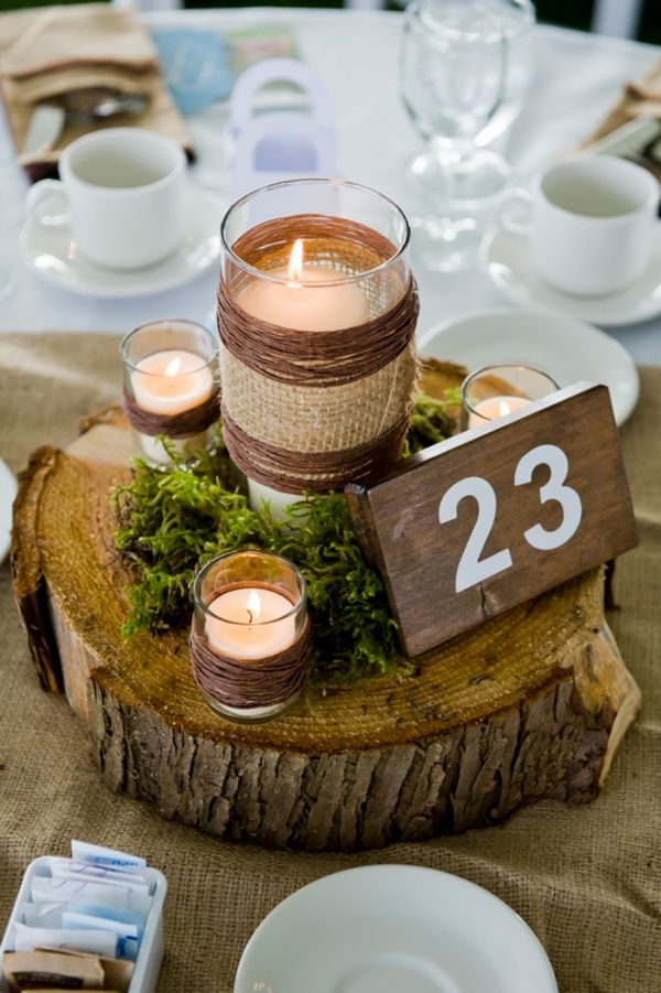 rustic wedding table numbers, tree trunk, burlap, candles // Kristy Klaassen Photography