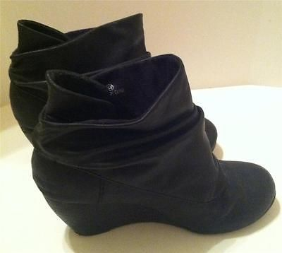 Aldo Black Slouch Ankle Wedge Boots Size 6.5 Booties Shoes | Shoes ...