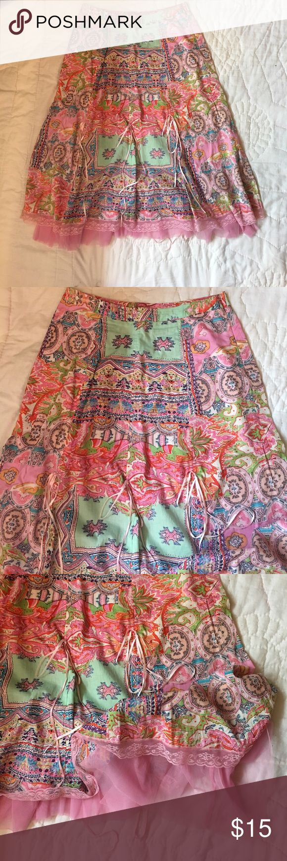 """April Cornell full skirt Beautiful full skirt with multi color pinks, greens & blues! Pink lace trim with pink ruffles at trim, lined with cotton underneath. Waist is 16"""", with zipper on side. Waist to hem is 28"""" April Cornell Skirts A-Line or Full"""