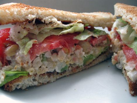 Just made this and it is delicious! Vegan garbanzo bean tuna salad sandwich. I added dill pickles and sprouts.