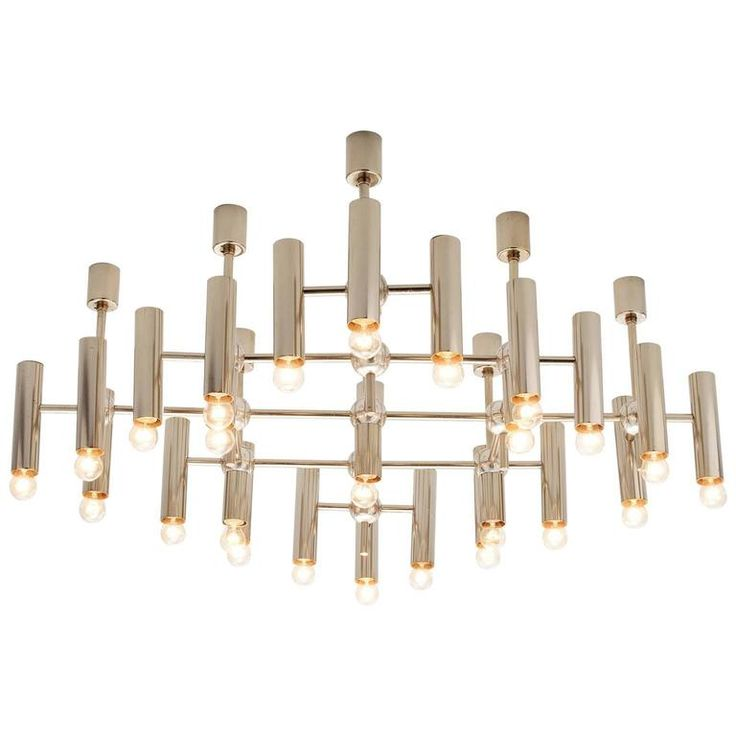 Large Chandelier in Steel | From a unique collection of antique and modern chandeliers and pendants at https://www.1stdibs.com/furniture/lighting/chandeliers-pendant-lights/