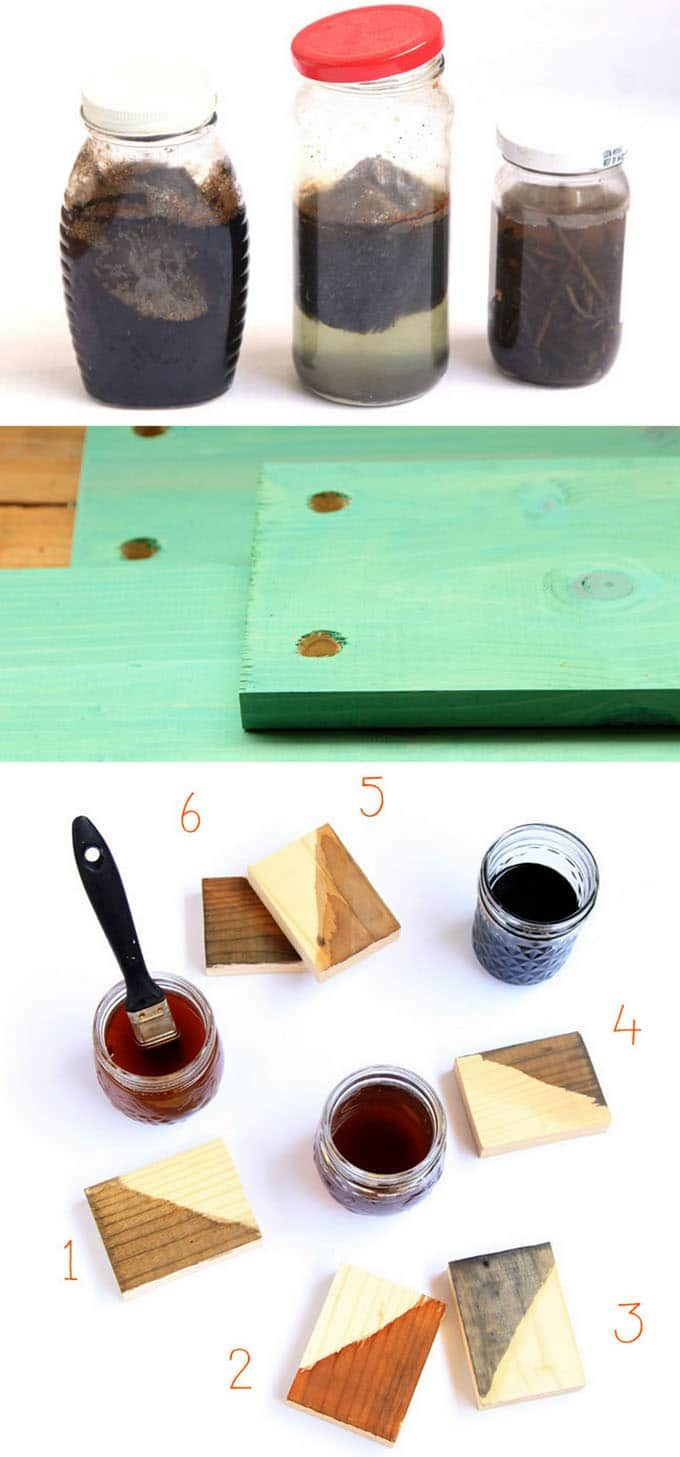 7 easy ways to make wood stain from natural household materials! Ultimate guide on DIY wood stains: super effective, long lasting, and low cost! https://www.apieceofrainbow.com/make-wood-stain/