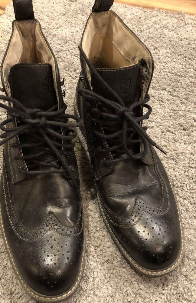G.H. Bass Men's Black Leather Oxford Boots Sz 12 Billy Shoes Lace Up    eBay