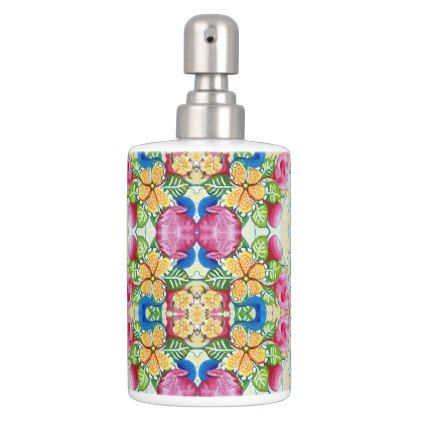 #flower - #Floral Tropical Pattern Soap Dispenser & Toothbrush Holder