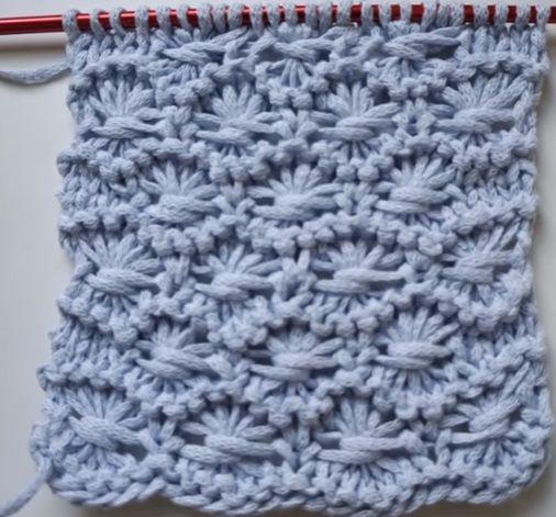 TRICÔ: PONTO FLORES,  ponto que usa como base os pontos meia e tricô. Ideal para ser tricotado com fio fino.