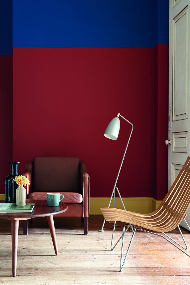 Verfkleuren Bronze Red en Yellow Pink van LITTLE GREENE. www.littlegreene.nl. Verf | decoratie | styling | woonkamer | wonen | interieur | design |