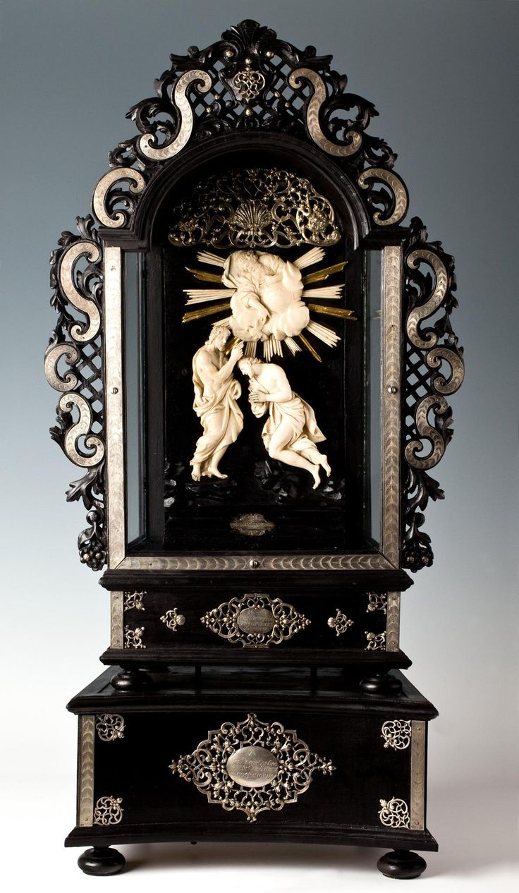 Silver altar with ivory-ebony relief of Baptism of Christ belonging to John III Sobieski by Anonymous from Italy, late 17th century (relief) and Anonymous from Wrocław, ca. 1735 (altar), Skarbiec Archikatedry św. Jana Chrzciciela we Wrocławiu; presented to the Wrocław Cathedral by Marie Charlotte Sobieska, Duchess of Bouillon