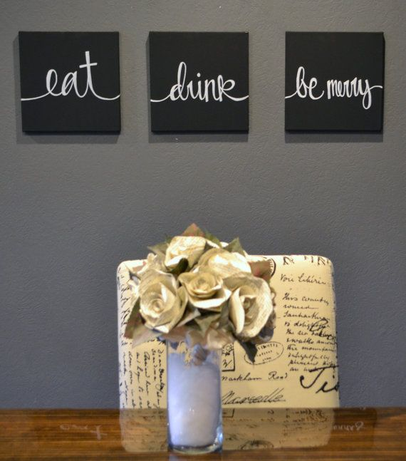 Eat Drink & Be Merry Canvas Wall Art Paintings by GoldenPaisley