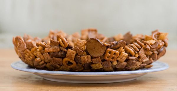 Super Bowl, Literally! It's made out of Chex Mix.  Love it when I can eat the dishes.