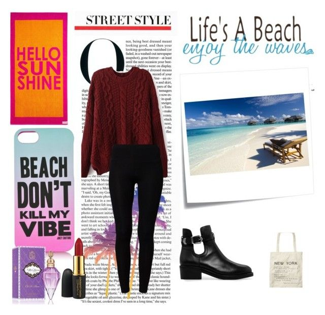 """""""Life's A Beach; Enjoy The Waves"""" by hana-fashion-fun ❤ liked on Polyvore featuring American Vintage, MANGO, Scotch & Soda, Life's a Beach, Post-It, Juicy Couture, WALL and MAC Cosmetics"""